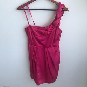 BCBGMaxAzria Pink Satin One Shoulder Dress